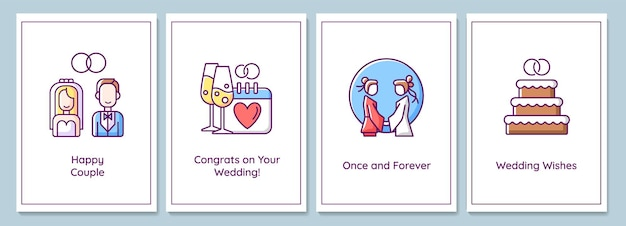 Wedding day celebration greeting cards with color icon element set. blessing happy couple. postcard vector design. decorative flyer with creative illustration. notecard with congratulatory message