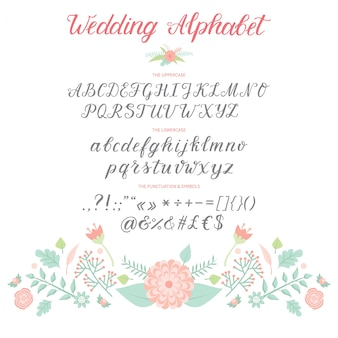 Wedding day ceremony alphabet text celebration invitation lettering retro card design calligraphy ceremony font  illustration.