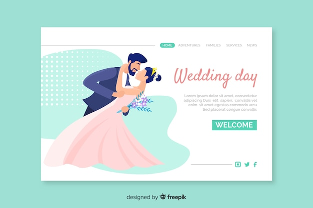 Wedding day ceremony landing page