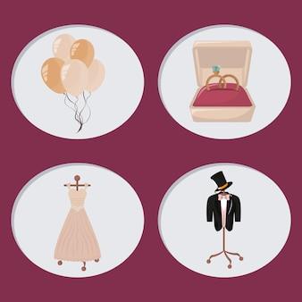 Wedding day icons cartoon