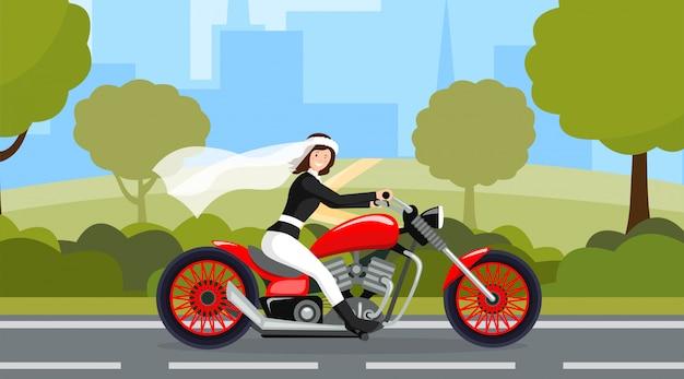 結婚式の日、結婚準備、ブライダルパレード、高速道路 Premiumベクター
