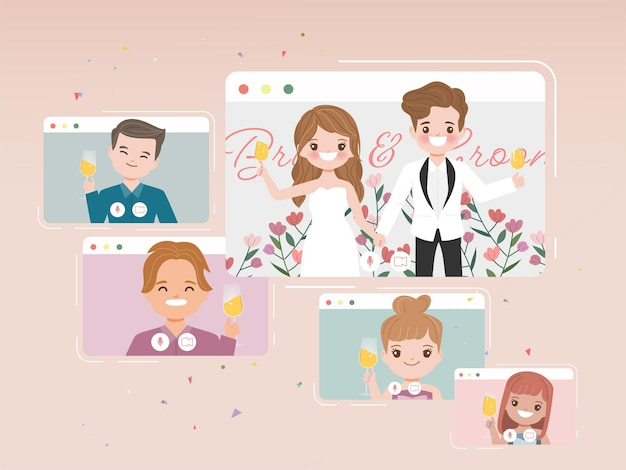 Wedding day in new normal lifestyle with conferencing video call. cartoon flat vector design.