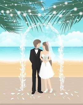 부부와 함께 해변에서 결혼식 날