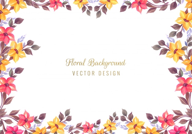 Wedding decorative colorful floral frame background