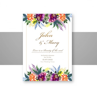 Wedding decorative flowers save the date on menu card template