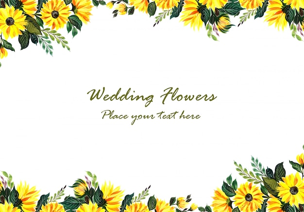 Wedding decorative yellow floral frame