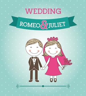 Wedding design over blue background vector illustration