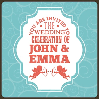 Wedding design over blue background vector illustration