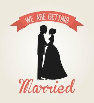 Свадебный дизайн на белом фоне векторная иллюстрация