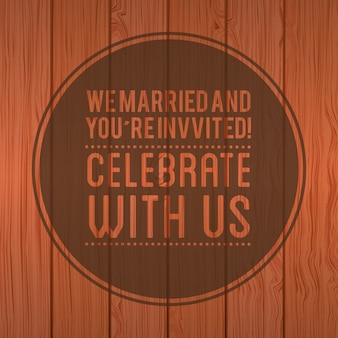 Wedding design over wooden background vector illustration