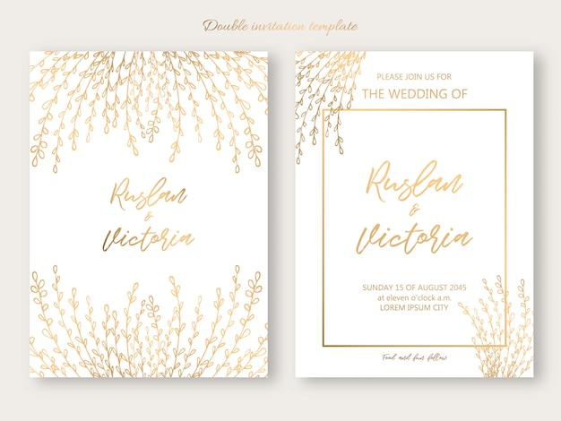Wedding double invitation template with golden decorative elements. vector illustration