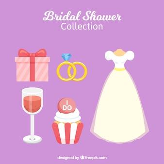 Свадебное платье и другие элементы в плоском исполнении