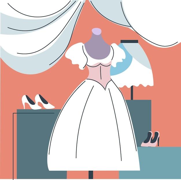 服を着た花嫁ショップ店のウェディングドレス