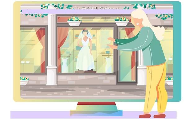ウェディングドレスショップ。ブライダルサロンの店先でモニターの近くに座っている女性。漫画のショーケース、ファッショナブルなブティックでエレガントな白いブライダル服コレクションのマネキン。結婚式の準備