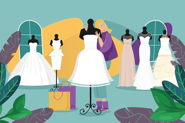 ウェディングドレスショップ、女性花嫁の日常生活のイラスト。ウェディングサロンファッション店で大人の女の子キャラクター。マネキン