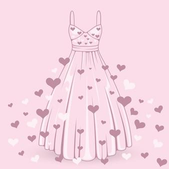 Wedding dress with hearts art. vector illustration