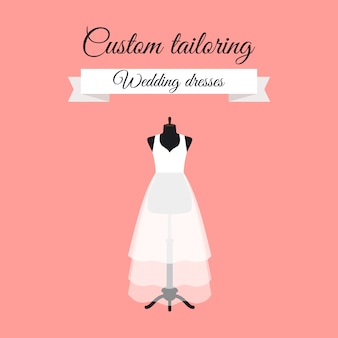 Wedding dresses logo design with mannequin
