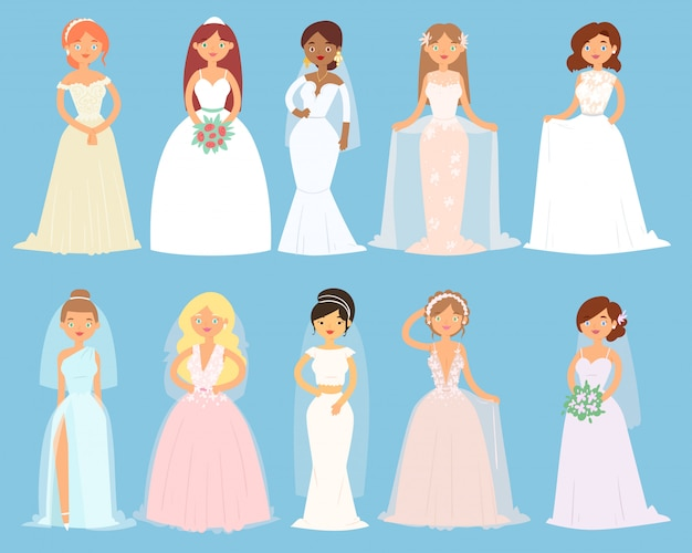 Свадебные платья на женщину невесты характера и подружки невесты носить белые одевающиеся аксессуары и свадебный праздник иллюстрации набор замужней девушки в браке платье, изолированных на фоне