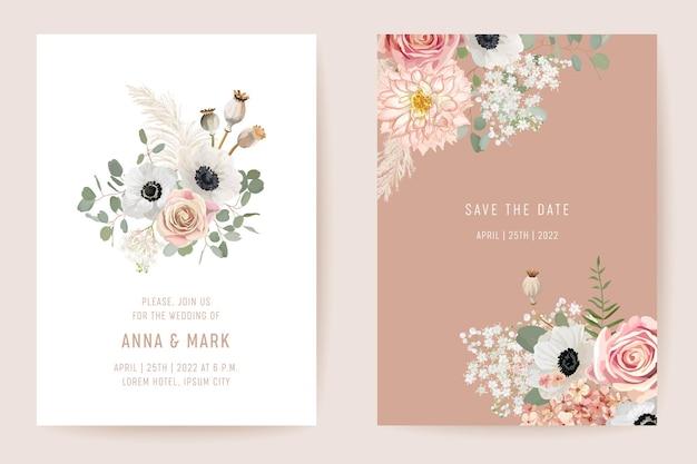 Свадебный сушеный анемон, пампасная трава, цветочные розы, набор save the date. вектор летние сухие цветы бохо пригласительный билет. акварельная весенняя рамка шаблона, листва, современный дизайн фона