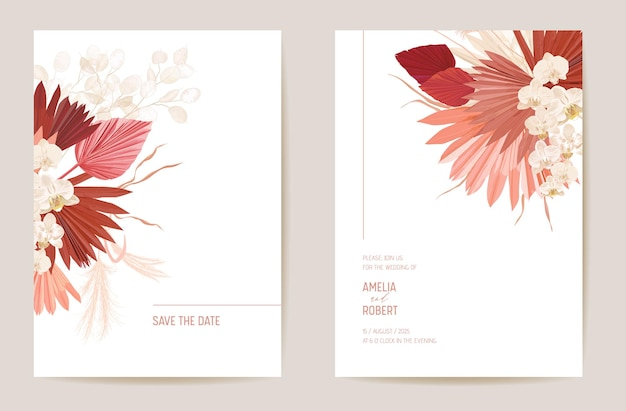 Wedding dried lunaria, orchid, pampas grass floral save the date set. vector exotic dry flower, palm leaves boho invitation card. watercolor template frame, foliage cover, modern background design