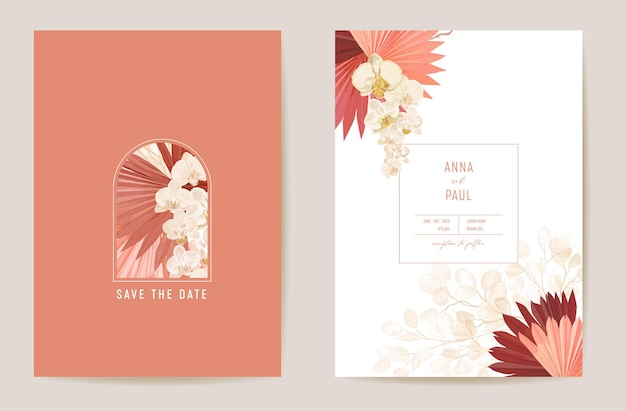 Wedding dried lunaria, orchid, pampas grass floral save the date set. vector exotic dry flower, palm leaves boho invitation card. watercolor template frame, foliage cover, modern poster, trendy design