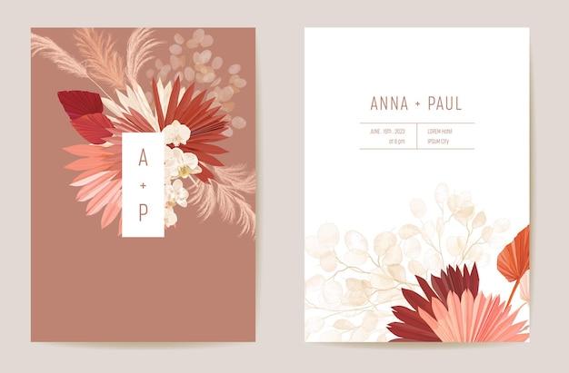 Свадебная сушеная лунария, орхидея, пампасная трава, цветочный набор save the date. вектор экзотический сухой цветок, пальмовые листья бохо пригласительный билет. рамка шаблона акварели, крышка листвы, современный дизайн фона