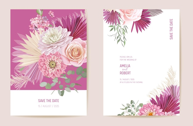 Wedding dried rose, dahlia, pampas grass floral save the date set. vector exotic dry flower, palm leaves boho invitation card. watercolor template frame, foliage cover, modern background design