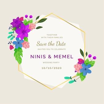 Ornamento cornice elegante e floreale di nozze