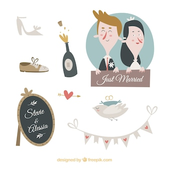 Wedding elements cartoon design collection