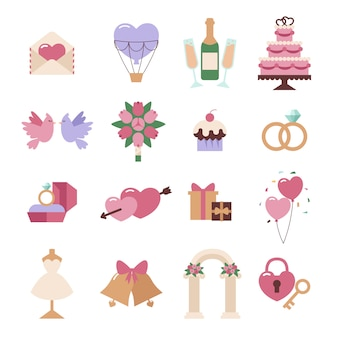 Wedding elements vector set isolated