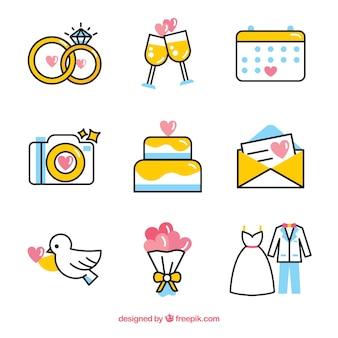 현대적인 스타일의 웨딩 요소
