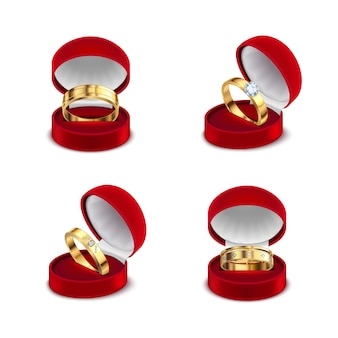 Wedding engagement gold rings in opened red jewelry box case 4 realistic sets white background  illustration