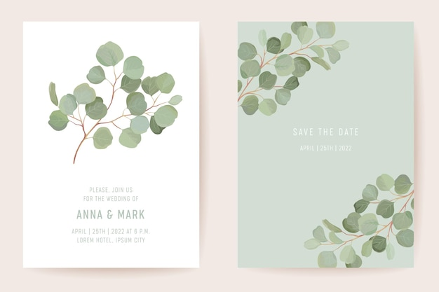 Wedding eucalyptus, green leaf branches floral save the date set. vector exotic leaves greenery boho invitation card. watercolor template frame, foliage cover, modern poster, trendy design