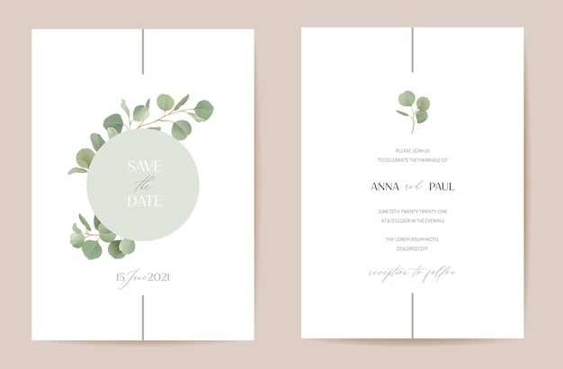 Wedding eucalyptus, green leaf branches floral save the date set. vector realistic leaves greenery boho invitation card. watercolor template frame, foliage cover, modern poster, trendy design