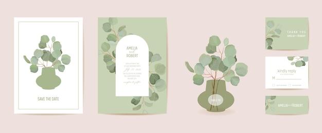 結婚式のユーカリ、緑の葉の枝の花の日付セットを保存します。ベクトルエキゾチックな葉の緑の自由奔放に生きる招待状。水彩テンプレートフレーム、葉カバー、モダンなポスター、トレンディなデザイン