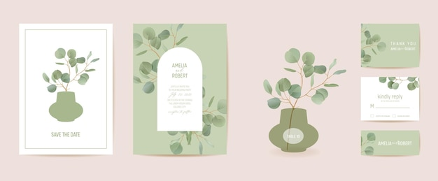 Свадебный эвкалипт, зеленые цветочные ветви листьев save the date set. вектор реалистичные листья зелени бохо пригласительный билет. акварель шаблон кадра, листва обложка, современный плакат, модный дизайн