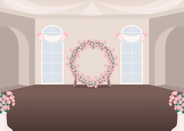 Плоская цветная иллюстрация зала свадебных мероприятий
