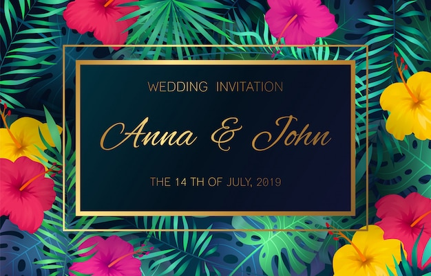 Wedding event invitation card. poster marriage exotic tropical flowers jungle leaves palm frame decoration invite banner