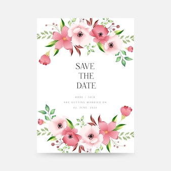 Wedding event invitation card template on white