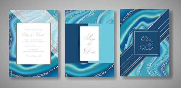 웨딩 패션 지오드 또는 대리석 템플릿, 예술적 표지 디자인, 화려한 질감, 사실적인 배경. 트렌디한 패턴, 기하학적 브로셔, 날짜 카드, 그래픽 포스터를 저장합니다. 벡터 일러스트 레이 션.