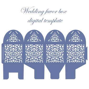 Wedding favor box. bombonniere candy box laser cut template with lace pattern.
