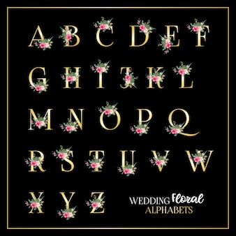 Wedding floral alphabets template