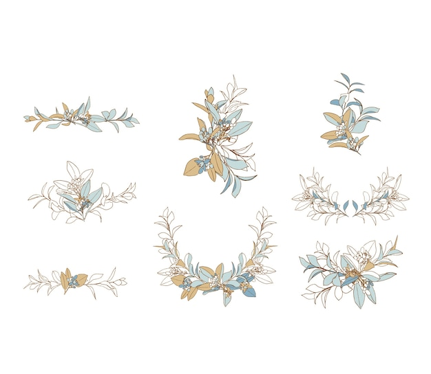 Wedding floral arrangement in blue and beige colors