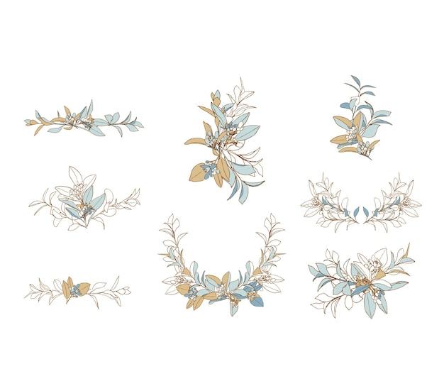 Свадебная цветочная композиция в синих и бежевых тонах
