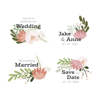 Wedding floral badge set
