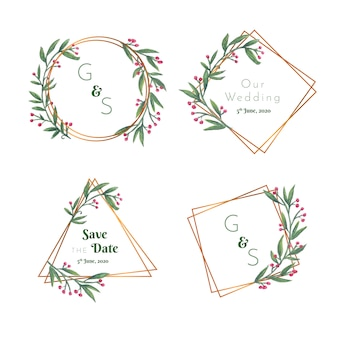 Wedding floral badges with golden frame