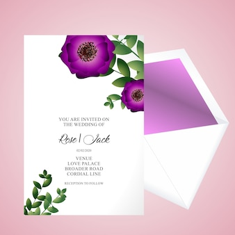 Wedding floral card invitation template - wedding floral special design