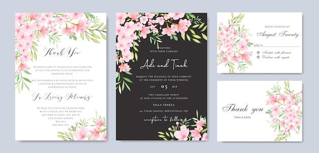 Wedding floral cherry blossom frame template