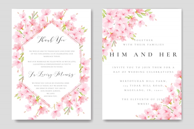 Wedding floral cherry blossom frame template