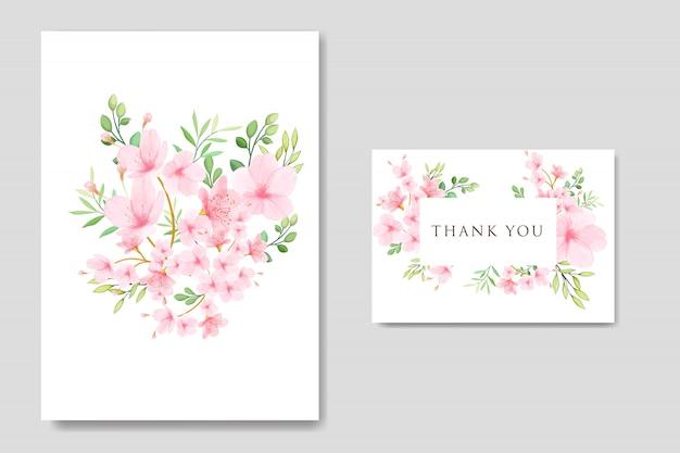 結婚式の花桜フレームテンプレート Premiumベクター